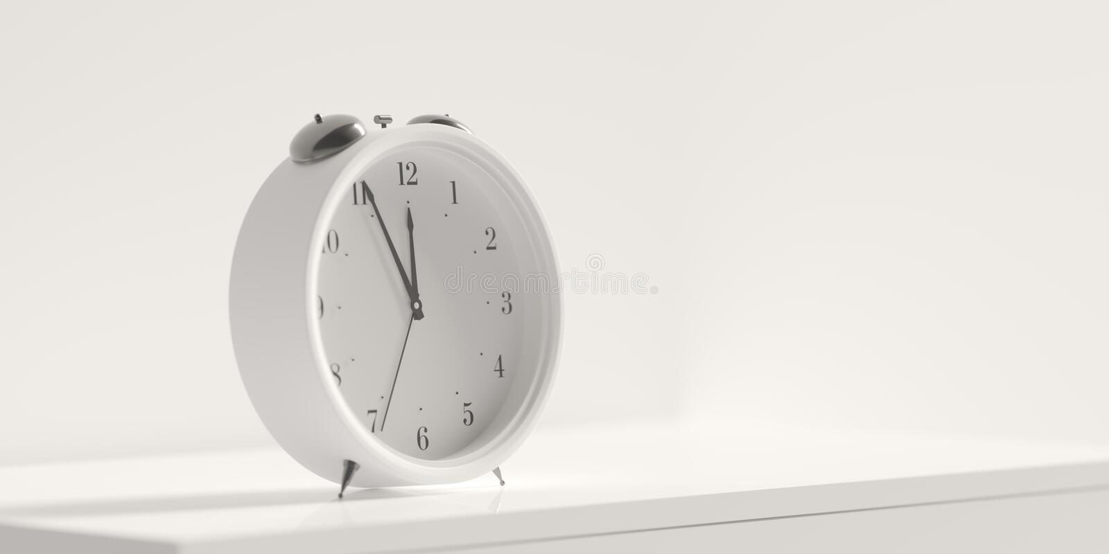 Retro alarm clock on table on warm white coloured wall background. 3d render. 3d illustration royalty free stock images