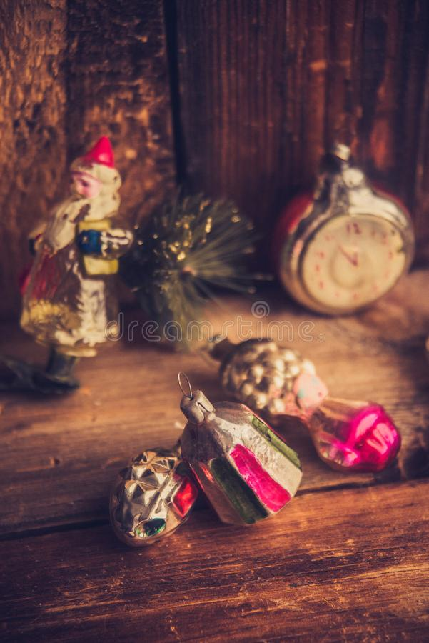 Retro Alarm Clock, Vintage Leather Suitcases, Old Fashioned Christmas Tree Decorations, copy space for your text royalty free stock photos