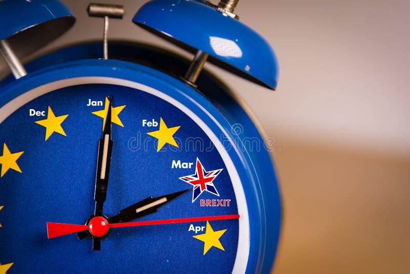 Retro alarm EU clock representing the countdown until Brexit. royalty free stock photography