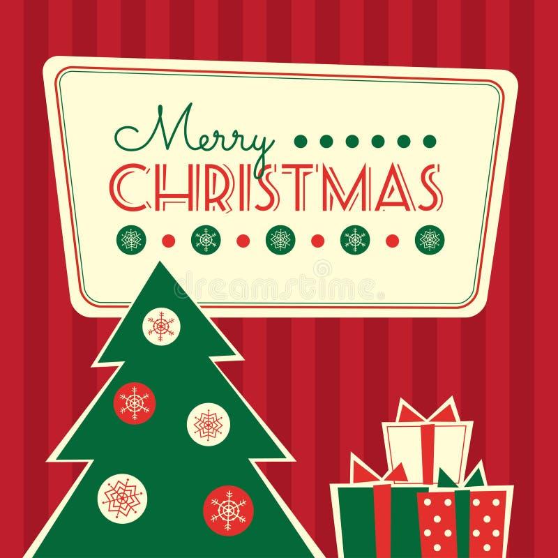 Retro albero di Natale e regali della carta illustrazione di stock