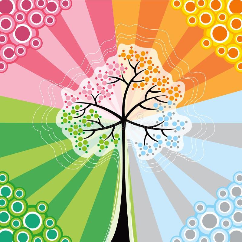 retro albero di schiocco di 4 stagioni illustrazione vettoriale