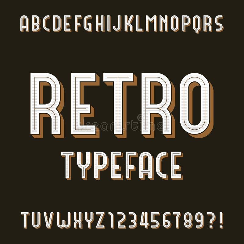 Retro alfabet vectordoopvont Typeletters en getallen vector illustratie