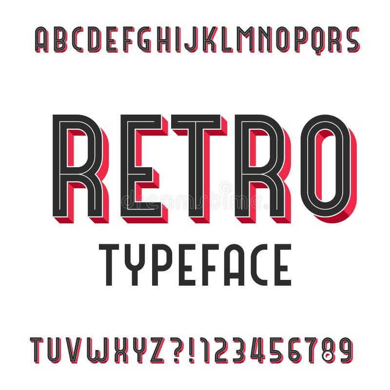 Retro alfabet vectordoopvont Uitgedreven typeletters en getallen vector illustratie