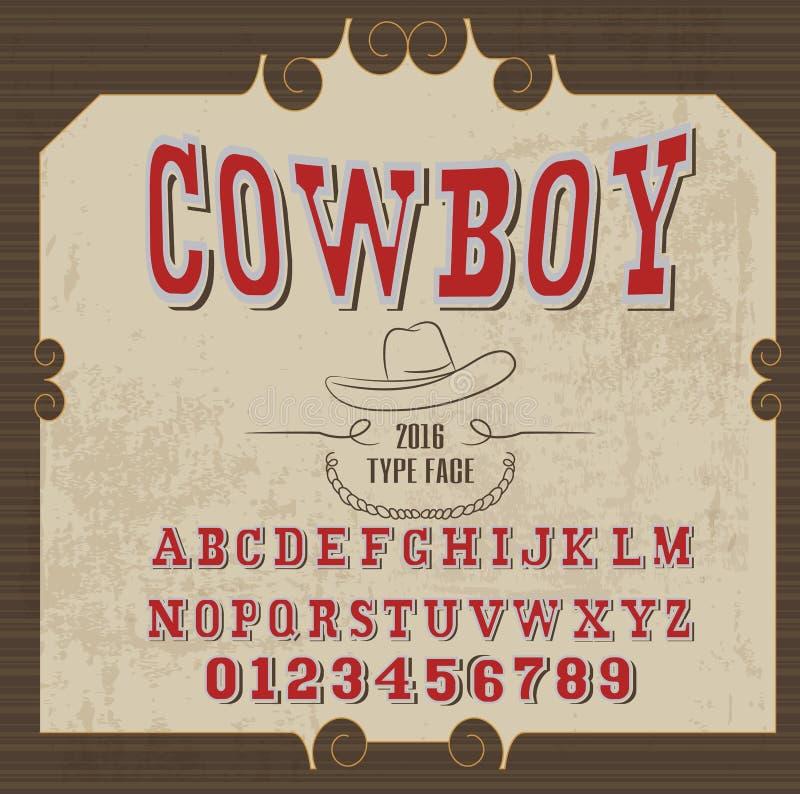 Retro alfabet in westelijke stijl, cowboystijl, vectordoopvont voor etiketten royalty-vrije illustratie