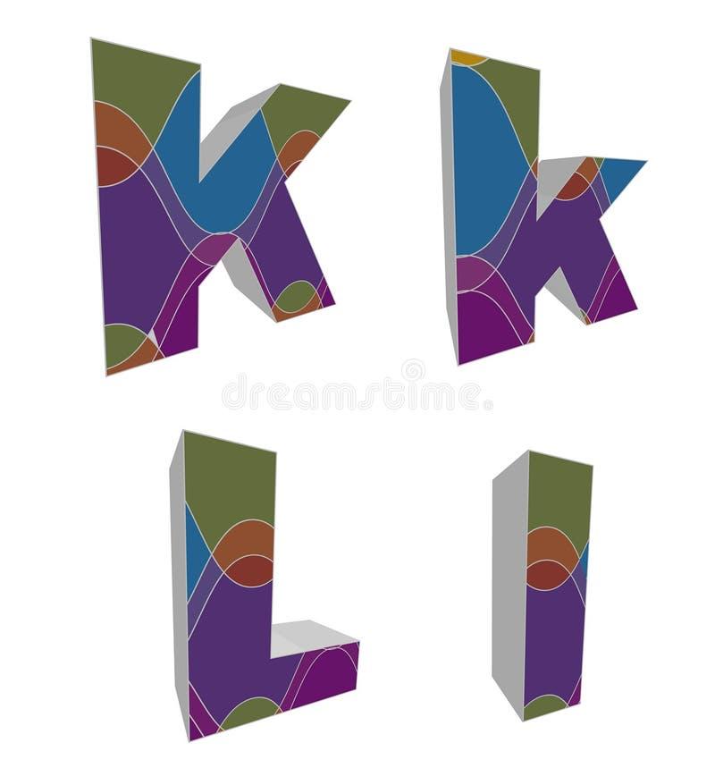 retro alfabeti funky 3D royalty illustrazione gratis