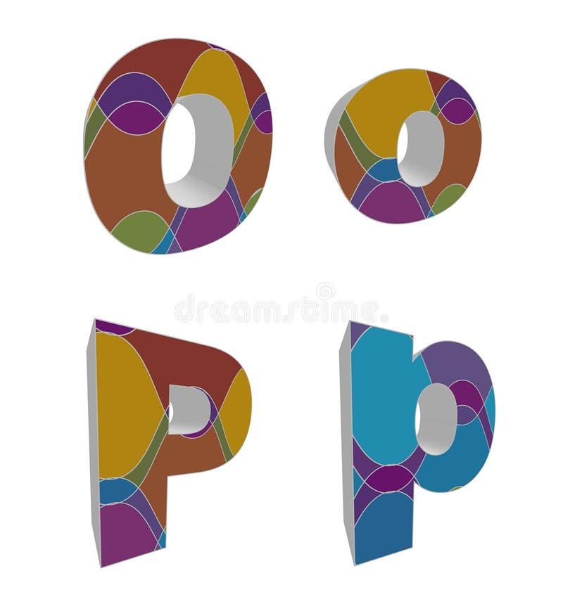 retro alfabeti funky 3D illustrazione di stock