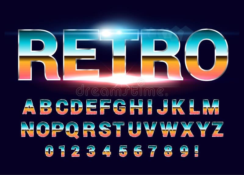 retro alfabetstilsort för 80 ` s Framtida stil för science fiction stock illustrationer