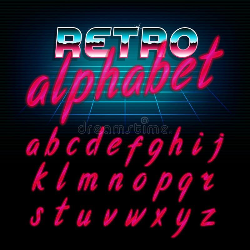 retro alfabetstilsort för 80 ` s Skinande små bokstäver för glödeffekt vektor illustrationer
