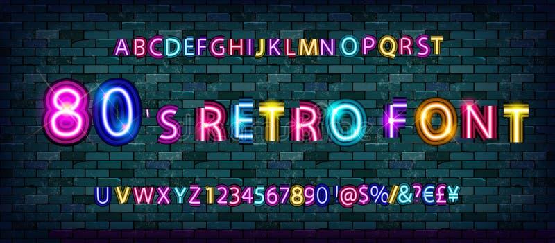 retro alfabetstilsort för 80 ` s royaltyfri illustrationer