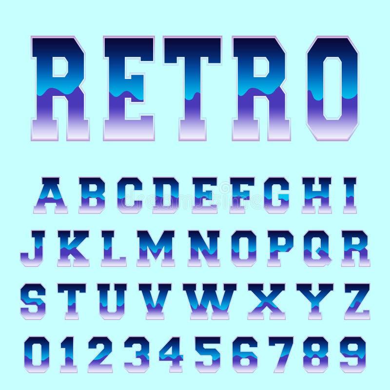 Retro alfabetstilsortsmall royaltyfri illustrationer