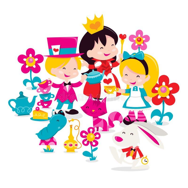 Retro Alice In Wonderland illustrazione di stock