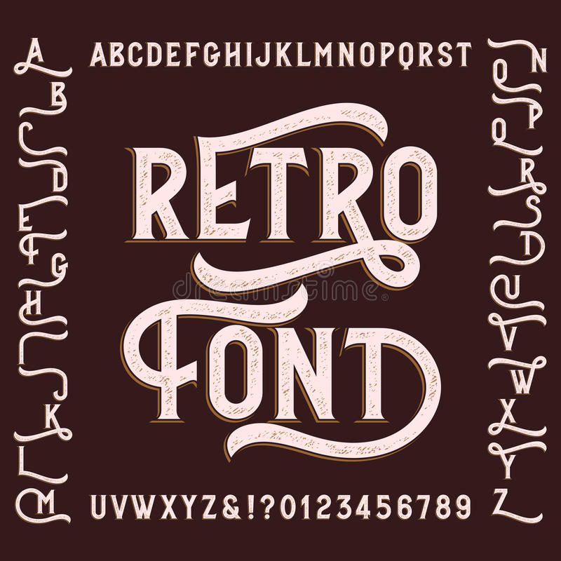 Retro alphabet font with alternates. Letters, numbers and symbols. Vintage vector typeface for your design stock illustration