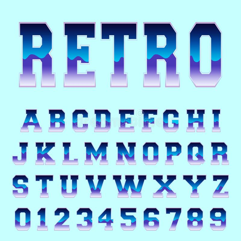 Retro alphabet font template royalty free illustration