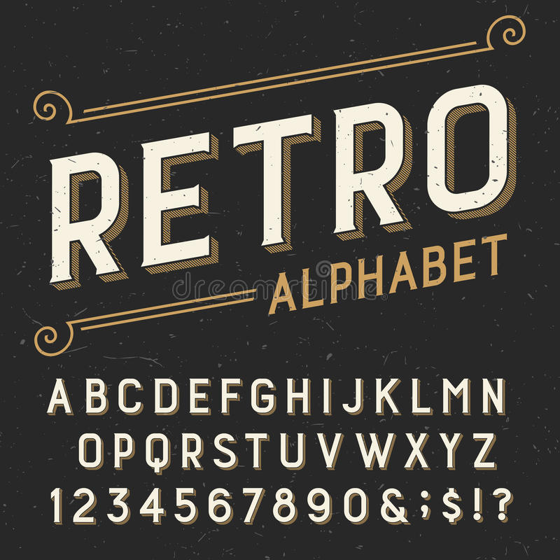 Free Retro Alphabet Vector Font. Stock Photo - 57620640
