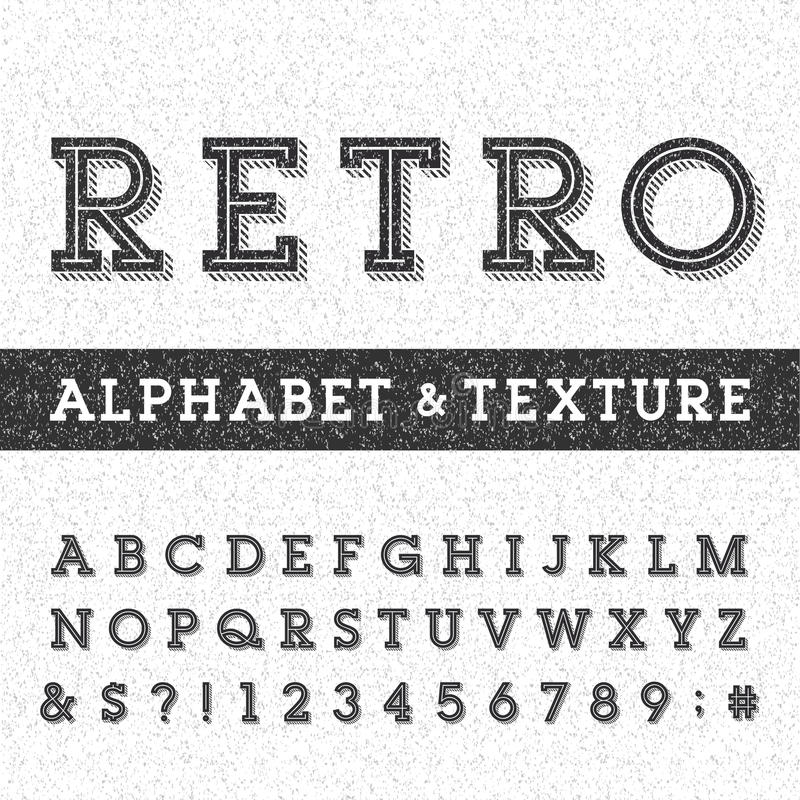 Retro alphabet vector font with distressed overlay texture. vector illustration
