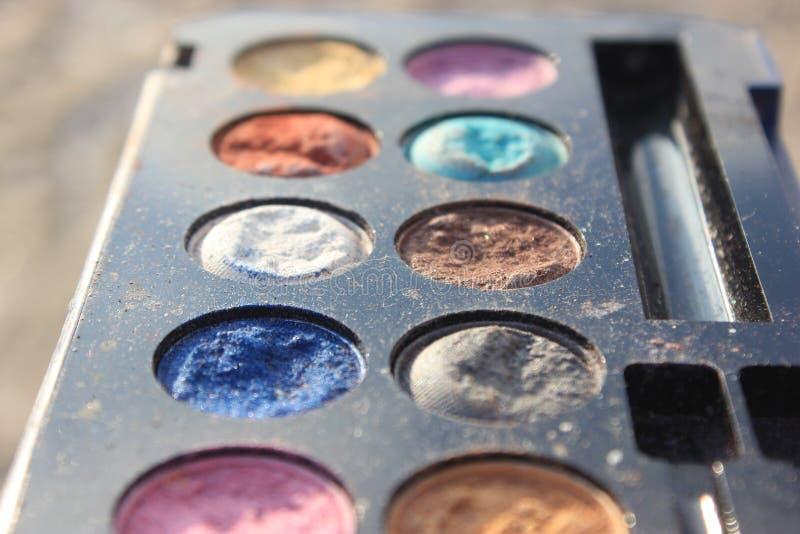 Retro- altes Weinlesefoto von pallette bilden, Mode 60s 70s, Blau, Weiß, heller Makroabschluß oben stockbild
