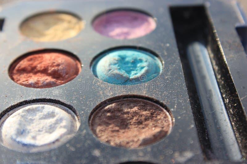 Retro- altes Weinlesefoto von pallette bilden, Mode 60s 70s, Blau, Weiß, heller Makroabschluß oben stockbilder