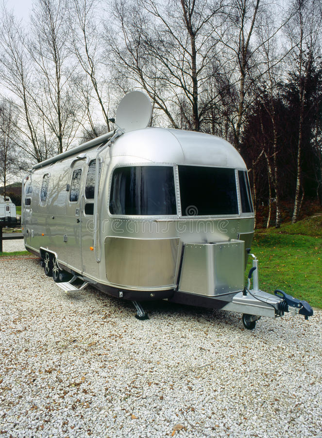 Retro American camping trailer royalty free stock photo