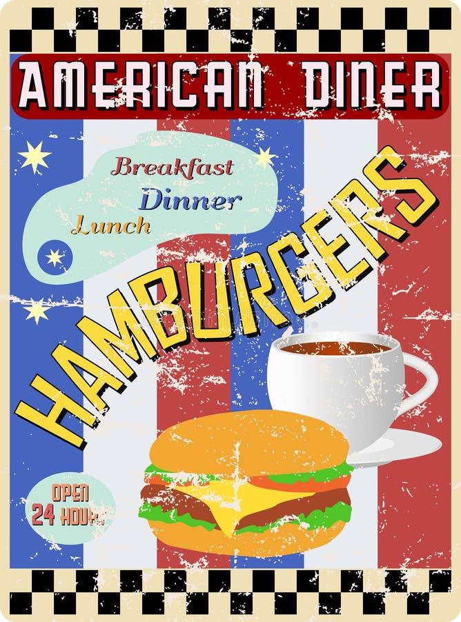 Retro Amerikaans diner teken vector illustratie