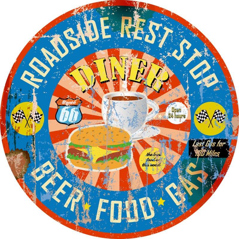 Retro Amerikaans diner teken, super grungy stijl, vector illustratie