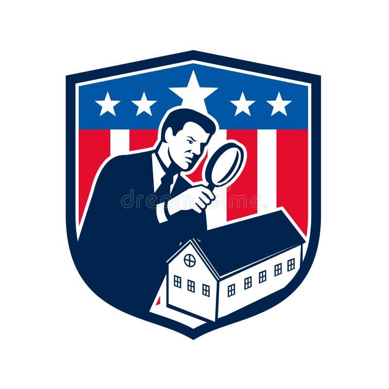 Retro amerikansk för USA för skolainspektör symbol flagga stock illustrationer