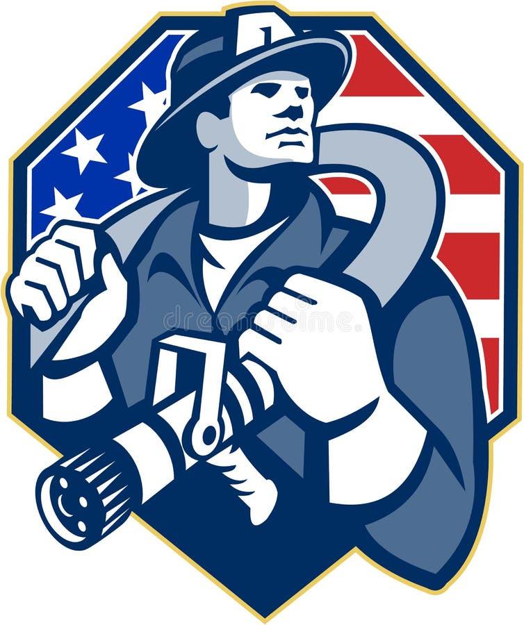 Retro amerikansk slang för brandmanbrandmanbrand stock illustrationer