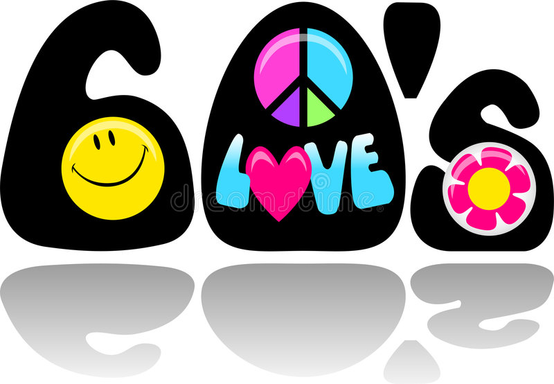 Retro amore/ENV di pace di anni sessanta illustrazione di stock