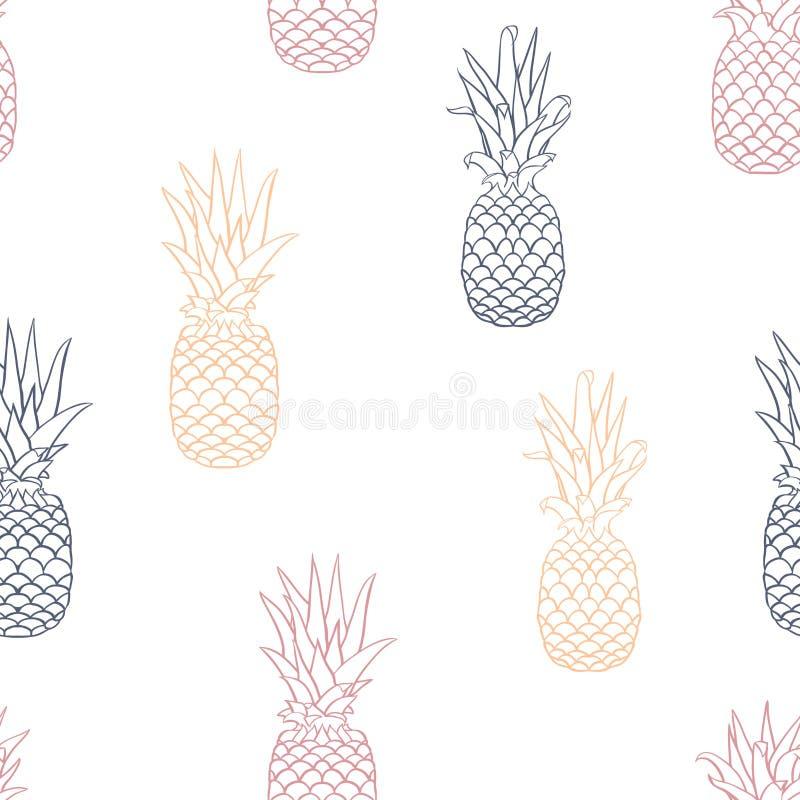 Retro ananas Lineart di vettore sul fondo senza cuciture bianco del modello royalty illustrazione gratis