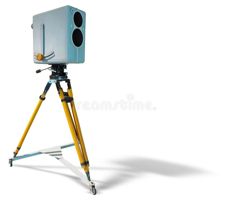 Retro ancient TV Professional studio old video camera on tripod isolated on white background royalty free stock photography