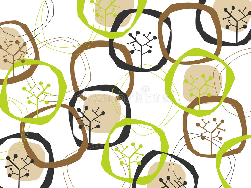 Retro anelli ed alberi della terra royalty illustrazione gratis