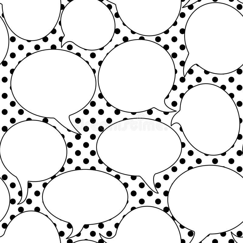 Retro anförande bubblar den sömlösa modellen vektor illustrationer