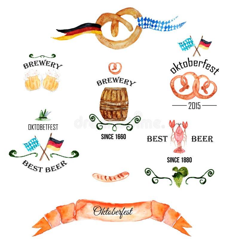 Retro- angeredete Kennsatzfamilie des Aquarells mit Bier lizenzfreie abbildung