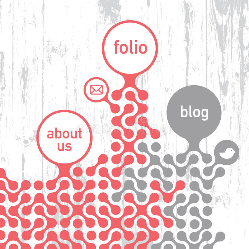 Retro- angeredete Site-Schablone. stock abbildung