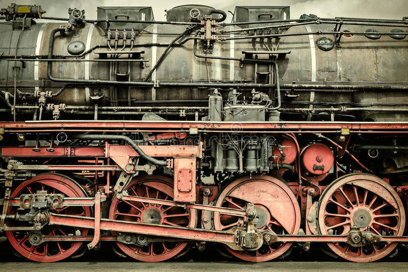 Retro- angeredetes Bild einer alten Dampflokomotive lizenzfreie stockfotografie
