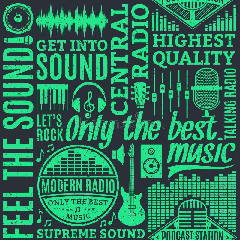 Retro- angeredetes nahtloses Muster des typografischen Vektorradios lizenzfreie abbildung