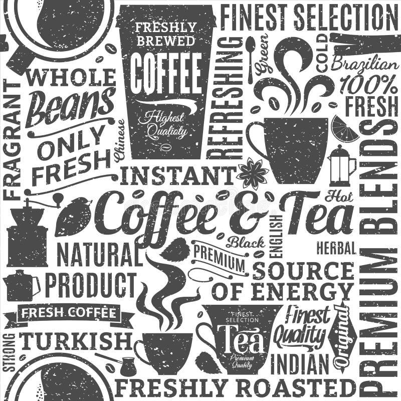 Retro- angeredetes typografisches nahtloses Muster des Vektorkaffees und -tees stock abbildung