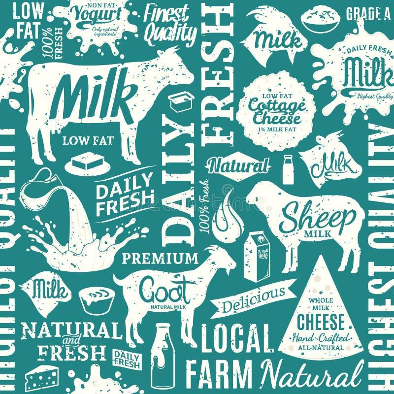 Retro- angeredetes typografisches nahtloses Muster des VektorMilchproduktes oder lizenzfreie abbildung