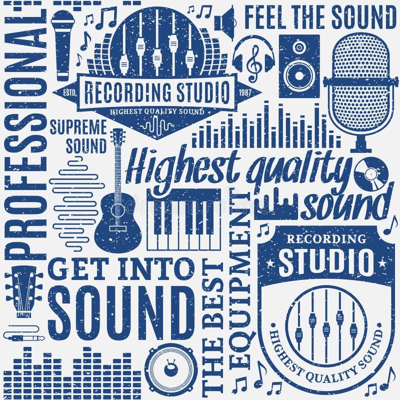 Retro- angeredetes typografisches Vektortonstudio und Musikaufkleber vektor abbildung