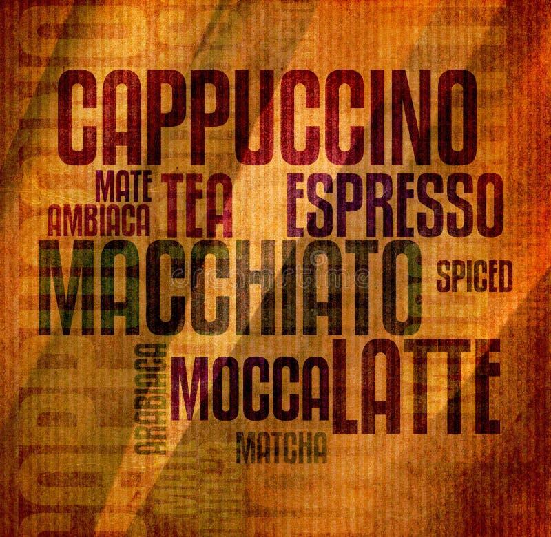 Retro annata di lerciume del testo del caffè con la struttura royalty illustrazione gratis