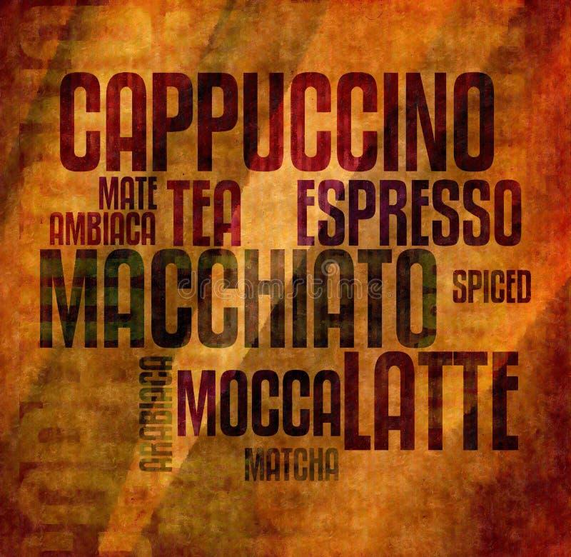 Retro annata di lerciume del testo del caffè di mocca illustrazione vettoriale