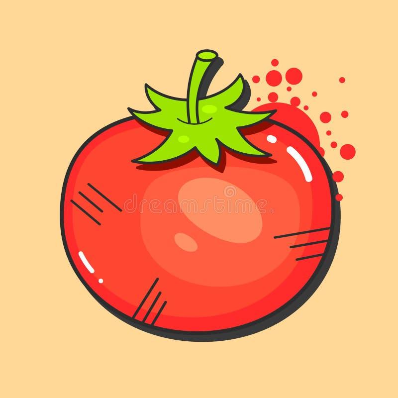 Retro annonsdesign för tomater med den röda saftiga tomaten på gammal pappers- textur Befordrings- vektoraffisch royaltyfri illustrationer