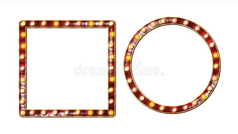 Retro- Anschlagtafel-Vektor Glänzendes helles Zeichen-Brett Realistischer Glanz-Lampen-Rahmen elektrisches glühendes Element 3D w vektor abbildung