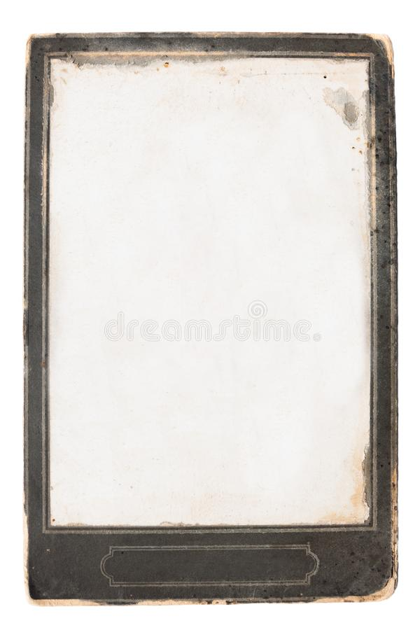 Vintage photo, old empty frame isolated on white background royalty free stock image