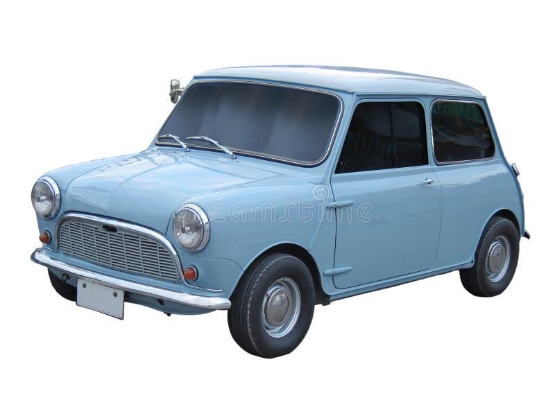 Retro antique small mini city car isolated on white background stock photos