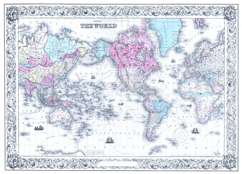 Retro Antique World Map Background. Illustration of an old antique world paper map. The seven continents, seas, nations, and countries can be seen on the diagram stock photography