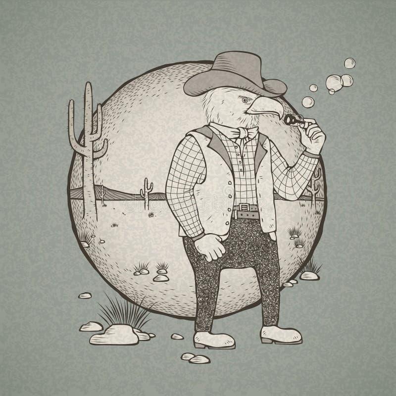 Retro aquila disegnata a mano del cowboy di stile illustrazione di stock