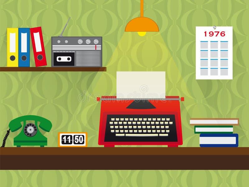 Retro- Arbeitsplatz der Siebziger mit Schreibmaschinen-, Telefon- und Kassettenrecorder, Weinlesetapetenhintergrund lizenzfreie abbildung