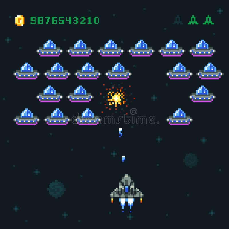 Retro arcade game screen with pixel invaders and spaceship. Space war computer 8 bit old vector graphics royalty free illustration