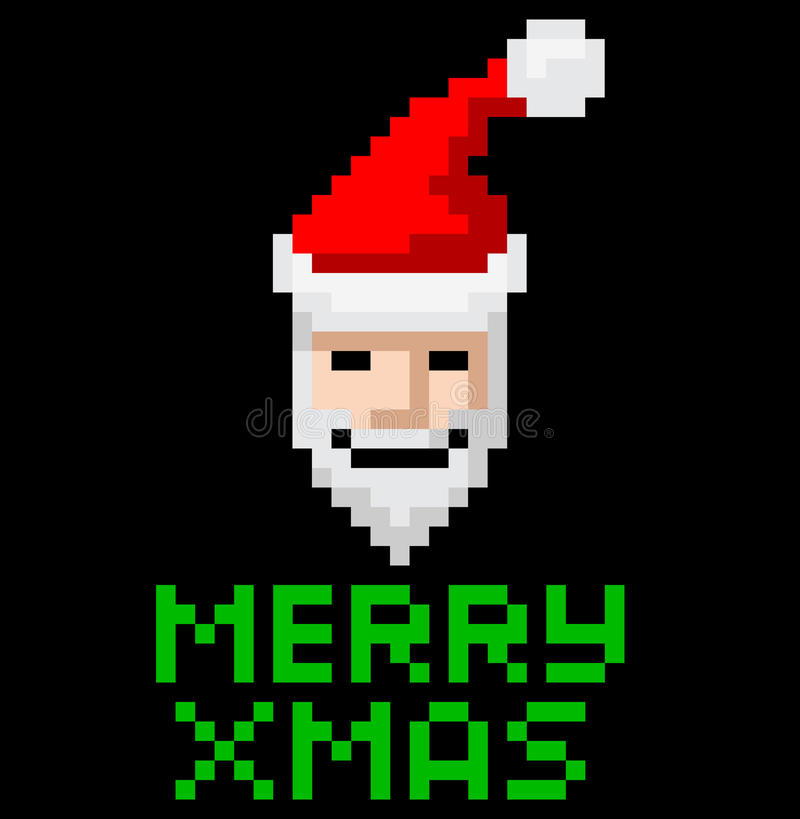 Retro Arcade Pixel Art Santa Royalty Free Stock Image
