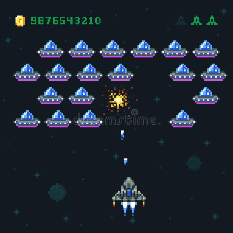 Retro arkady gry ekran z piksla statkiem kosmicznym i najeźdźcami Astronautycznego wojennego komputeru 8 kawałka stare wektorowe  royalty ilustracja